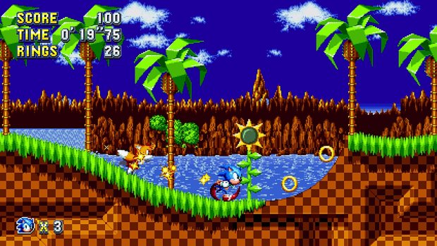 Sonic Mania screenshot of the new and improved Green Hills zone