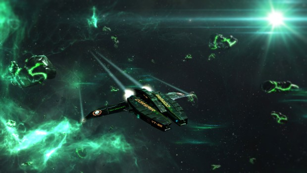 Starpoint Gemini 2 screenshot of a green nebula