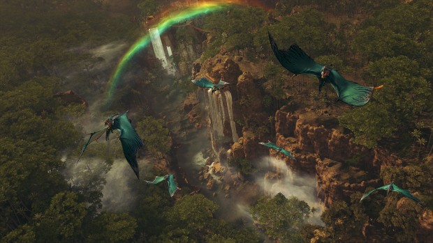 Total War: Warhammer 2 Lizardmen screenshot of a waterfall and flying units