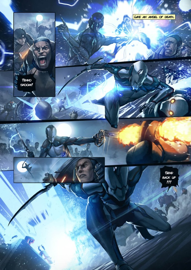 First page teaser of the Warframe comic