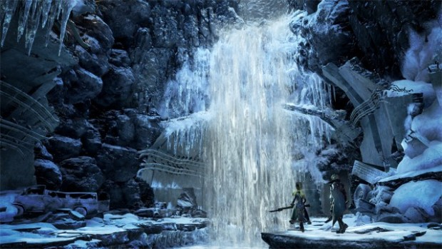 Code Vein screenshot of a frozen waterfall