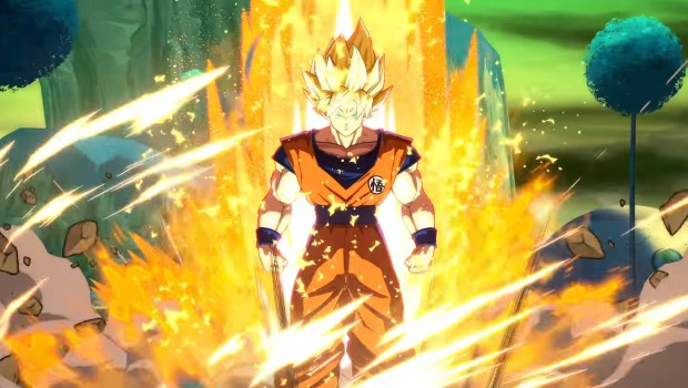 Dragon Ball FighterZ in-game screenshot of Goku powering up