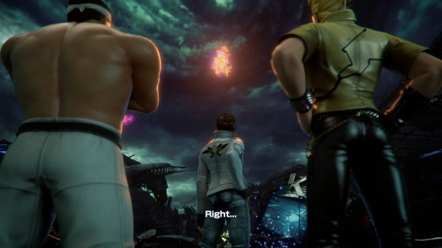 Screenshot of a fire in the sky for King of Fighters XIV