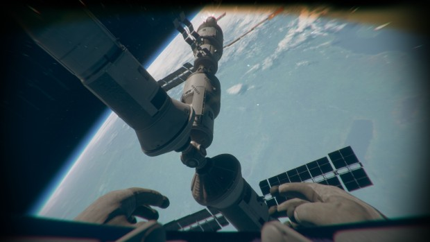 Outreach screenshot of the outside of the space station