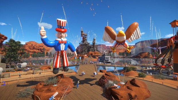 Planet Coaster Summer Update screenshot of fireworks and new decorations
