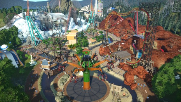 Planet Coaster screenshot of various biomes from the Summer Update