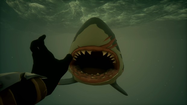 Sea of Thieves screenshot of a rather scary shark