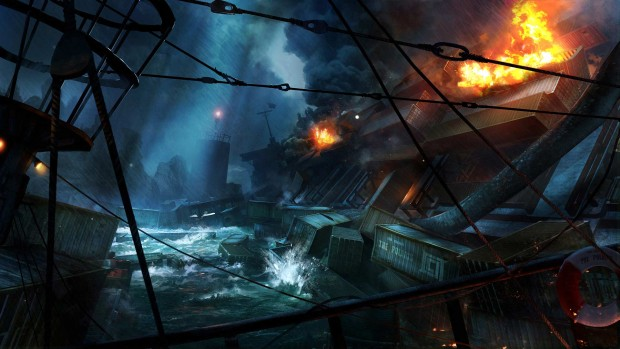 Secret World Legends artwork for a ruined shipyard