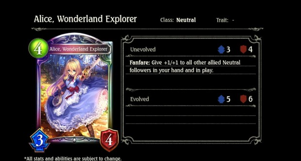 Alice the Wonderland Explorer card from Shadowverse