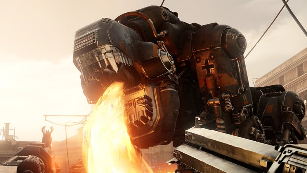 Wolfenstein 2: The New Colossus screenshot of a giant, flame-breathing robot dog