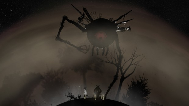 World of One screenshot of a giant shadowy spider