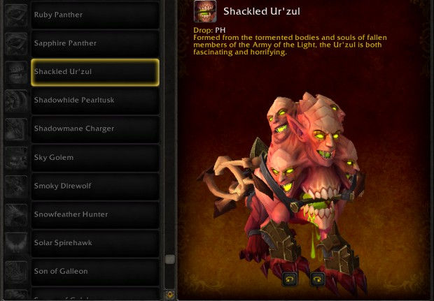 World of Warcraft Update 7.3 mount Shackled Ur'Zul