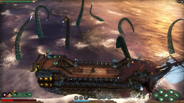 Abandon Ship screenshot of a Kraken attacking a ship with tentacles
