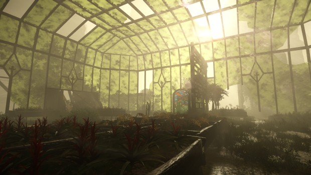 Aporia: Beyond the Valley screenshot of a ruined greenhouse
