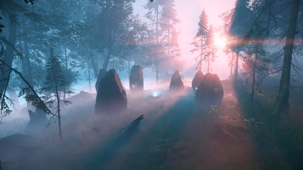 Aporia: Beyond the Valley screenshot of a mysterious rock formation
