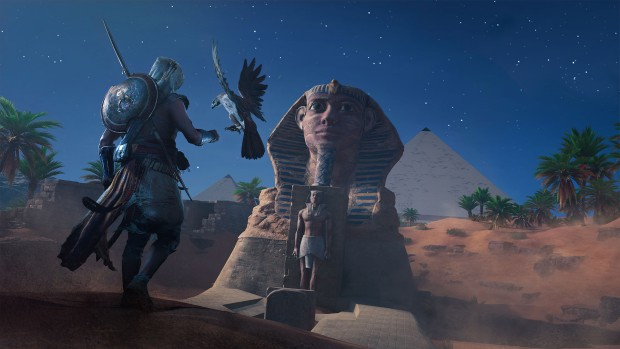 Assassin's Creed Origins screenshot of our character with a Hawk