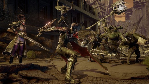 Code Vein screenshot of a battle against greenskins