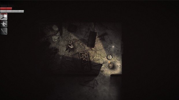 Darkwood screenshot of a crampt house with a corpse in it