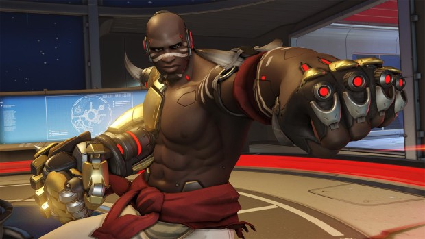 Doomfist punching the camera from Overwatch