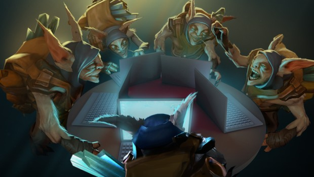 Dota 2 Meepo playing on the PC with his clones