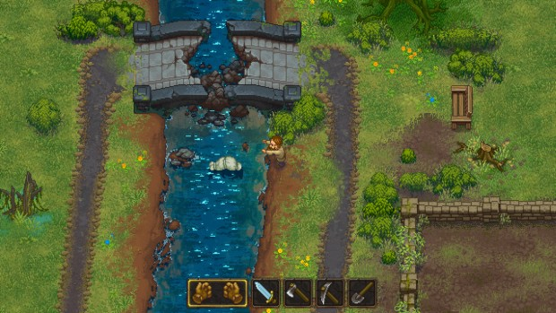 Graveyard Keeper disposing stuff in the river