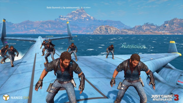 Just Cause 3: Multiplayer Mod of many, many players riding a plane