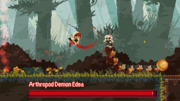 Momodora screenshot of the Arthropod Demon Edea