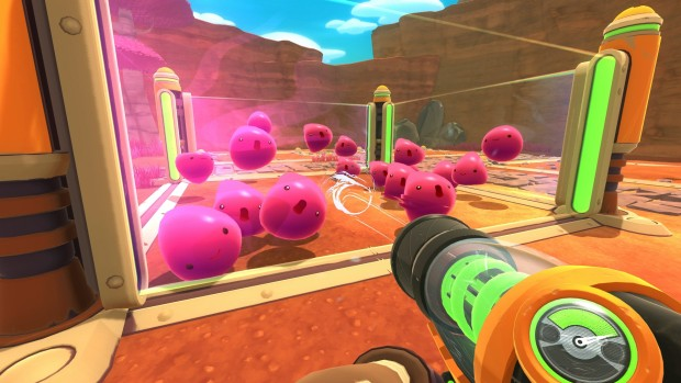 Slime Rancher screenshot of a pen full of pink slime