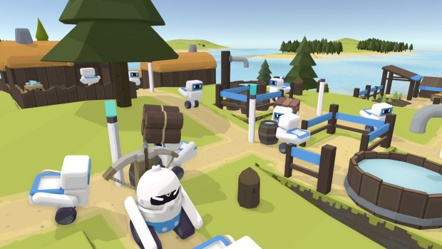 The Colonists screenshot of robots hard at work