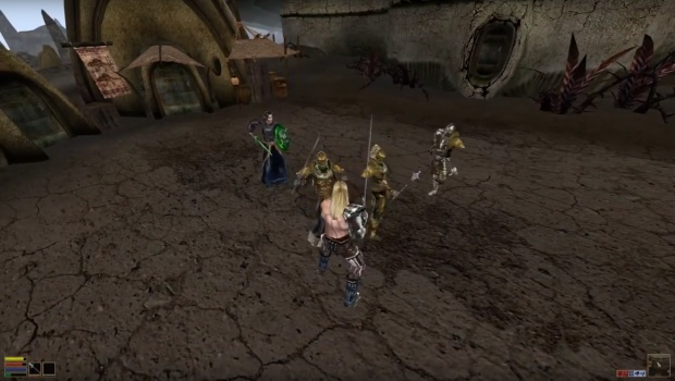 The Elder Scrolls III: Multiplayer mod screenshot of combat with 2 players
