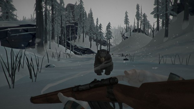The Long Dark screenshot of a bear in a blizzard