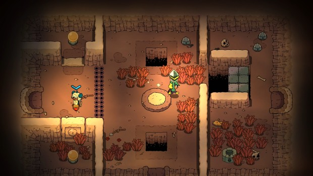 The Swords of Ditto screenshot of two players solving puzzles