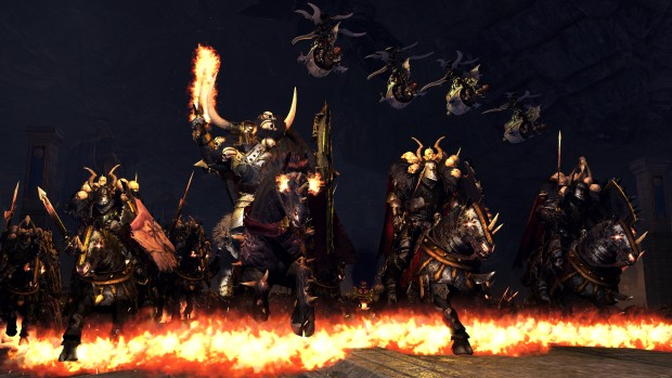 Total War: Warhammer screenshot of flaming Chaos horses