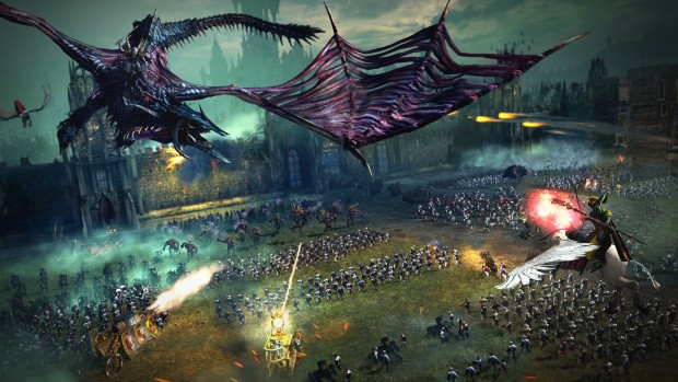 Total War: Warhammer screenshot of a battle between Vampire Counts and the Empire
