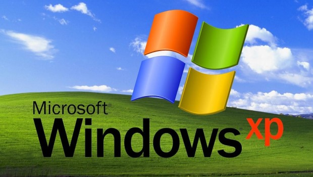 Microsoft Windows XP logo and green fields background