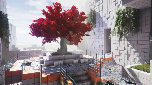 Q.U.B.E. 2 screenshot of a cherry tree in a very cubic world