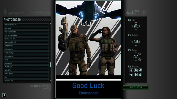 "XCOM 2: War of the Chosen ""Propaganda Center"" screenshot saying good luck commander"
