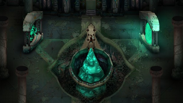 Children of Morta screenshot of green crystal pylons