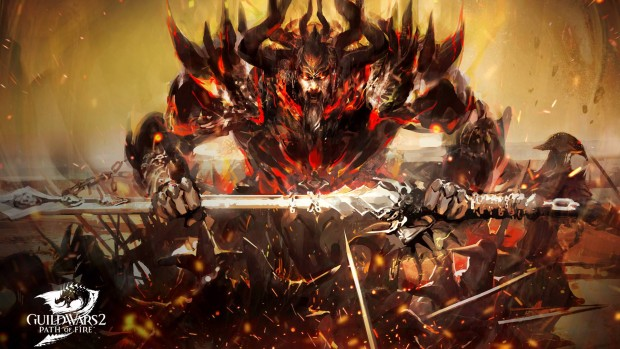 Guild Wars 2: Path of Fire artwork of the god Balthazar