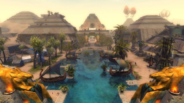 Guild Wars 2: Path of Fire screenshot of a beautiful oasis city