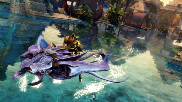 Guild Wars 2: Path of Fire screenshot of a player riding a gliding Manta Ray