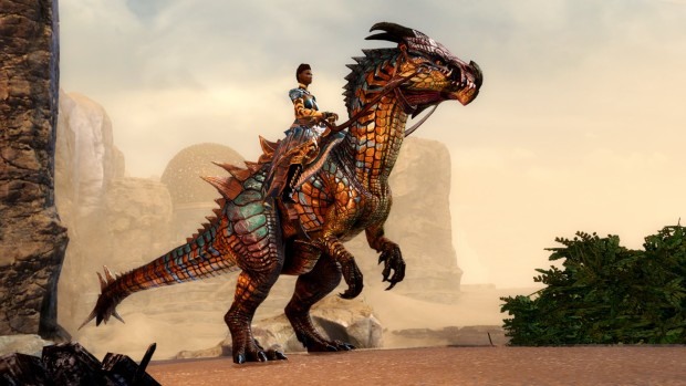 Guild Wars 2: Path of Fire screenshot of the Raptor mount