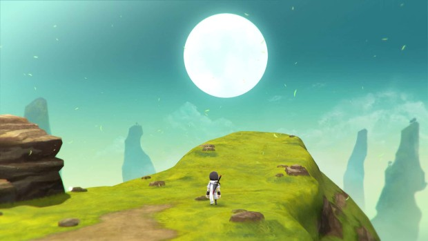 Lost Sphear screenshot of a gigantic hill and a sun over it