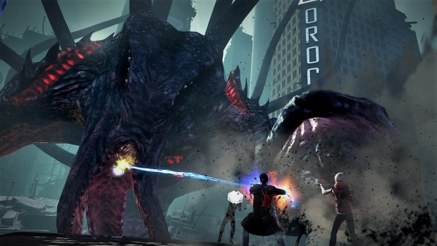 Secret World Legends screenshot of a giant monster attacking a city