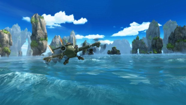Sine Mora EX screenshot of a plane cruising across the ocean