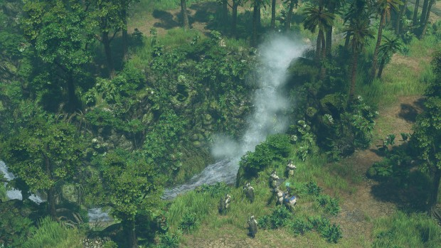 SpellForce 3 screenshot of knights and a waterfall
