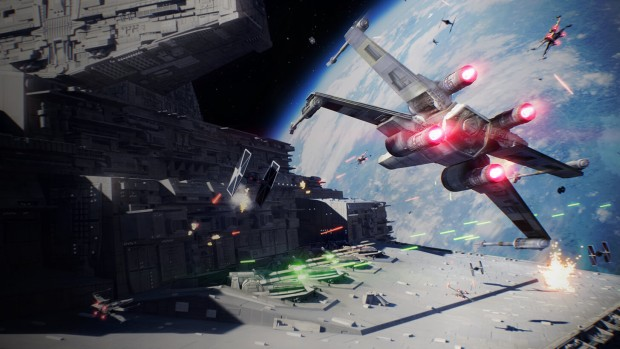 Star Wars Battlefront 2 screenshot of starships fighting