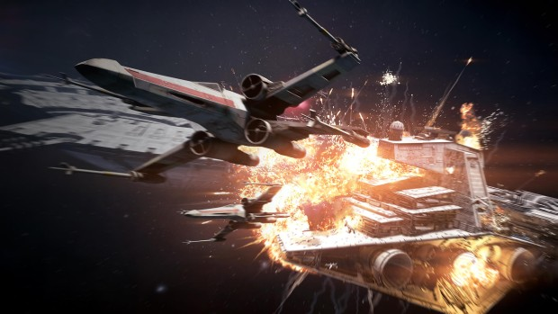 Star Wars Battlefront 2 screenshot of the star destroyer getting blown up