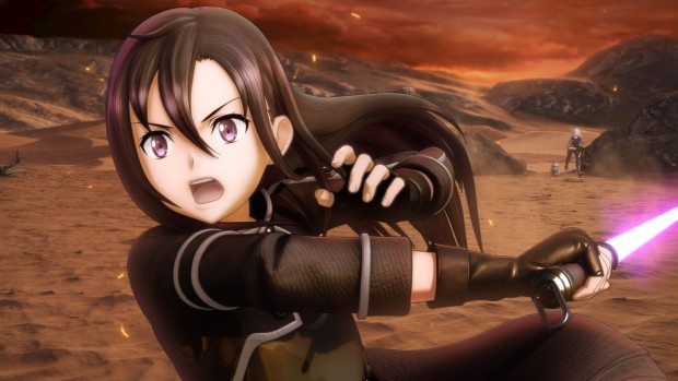 Sword Art Online: Fatal Bullet screenshot of a lightsaber attack