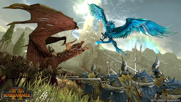 Total War: Warhammer 2 screenshot of the High Elves and Dark Elves fighting